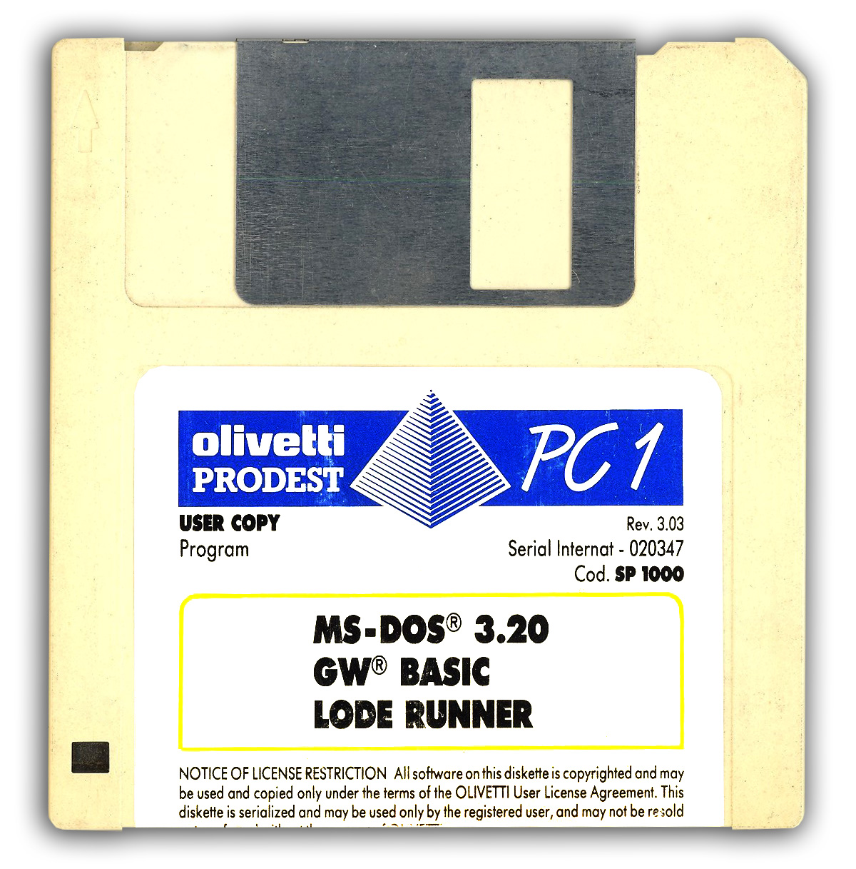 Boot disk (English) for Olivetti Prodest PC1